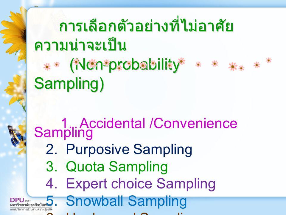 การเลือกตัวอย่างที่ไม่อาศัยความน่าจะเป็น (Non-probability Sampling)