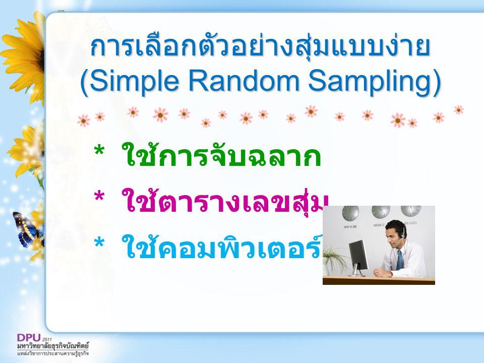 การเลือกตัวอย่างสุ่มแบบง่าย (Simple Random Sampling)