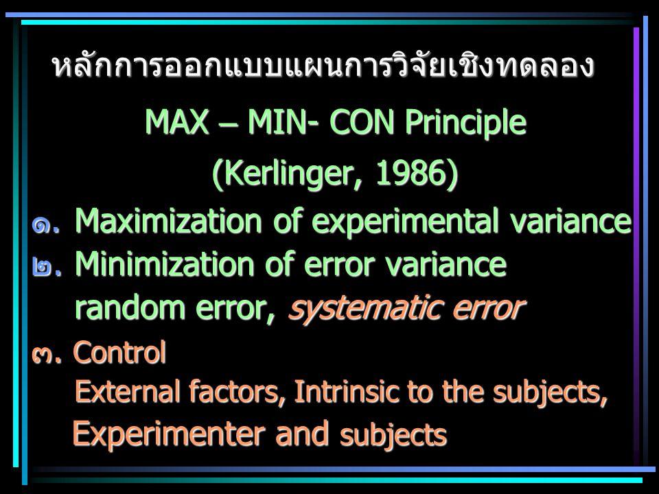MAX – MIN- CON Principle