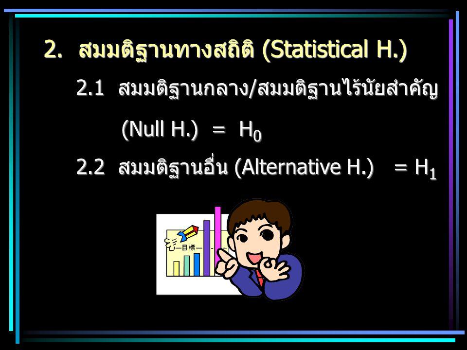 2. สมมติฐานทางสถิติ (Statistical H.)