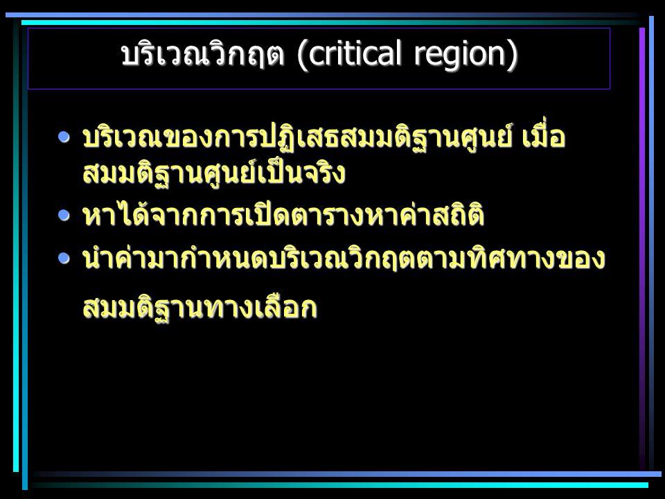 บริเวณวิกฤต (critical region)