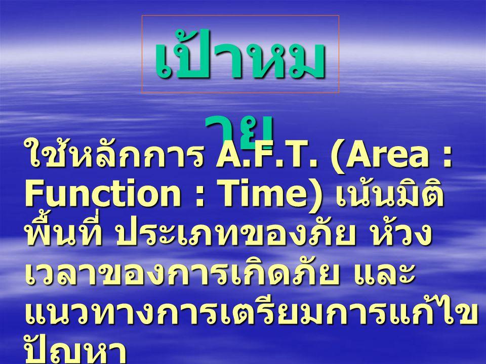 เป้าหมาย ใช้หลักการ A.F.T. (Area : Function : Time) เน้นมิติพื้นที่ ประเภทของภัย ห้วงเวลาของการเกิดภัย และแนวทางการเตรียมการแก้ไขปัญหา.