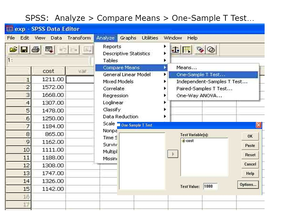 SPSS: Analyze > Compare Means > One-Sample T Test…