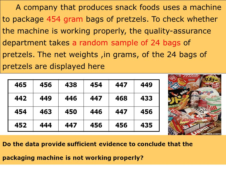 A company that produces snack foods uses a machine to package 454 gram bags of pretzels. To check whether the machine is working properly, the quality-assurance department takes a random sample of 24 bags of pretzels. The net weights ,in grams, of the 24 bags of pretzels are displayed here