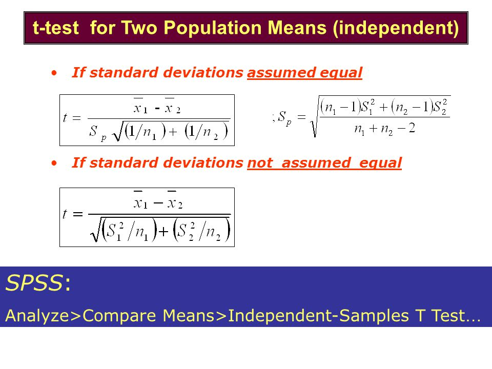 t-test for Two Population Means (independent)