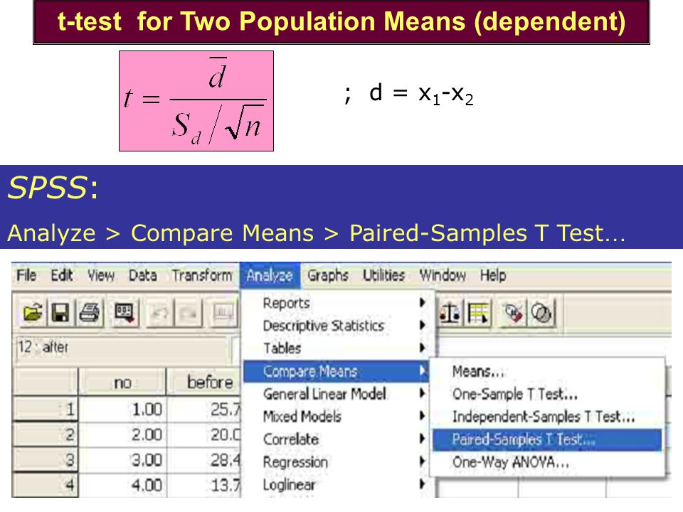 t-test for Two Population Means (dependent)