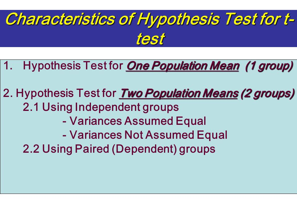 Characteristics of Hypothesis Test for t-test