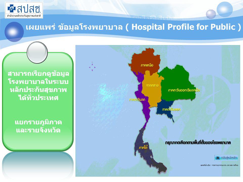 เผยแพร่ ข้อมูลโรงพยาบาล ( Hospital Profile for Public )
