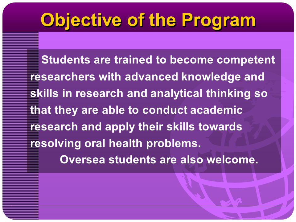 Objective of the Program