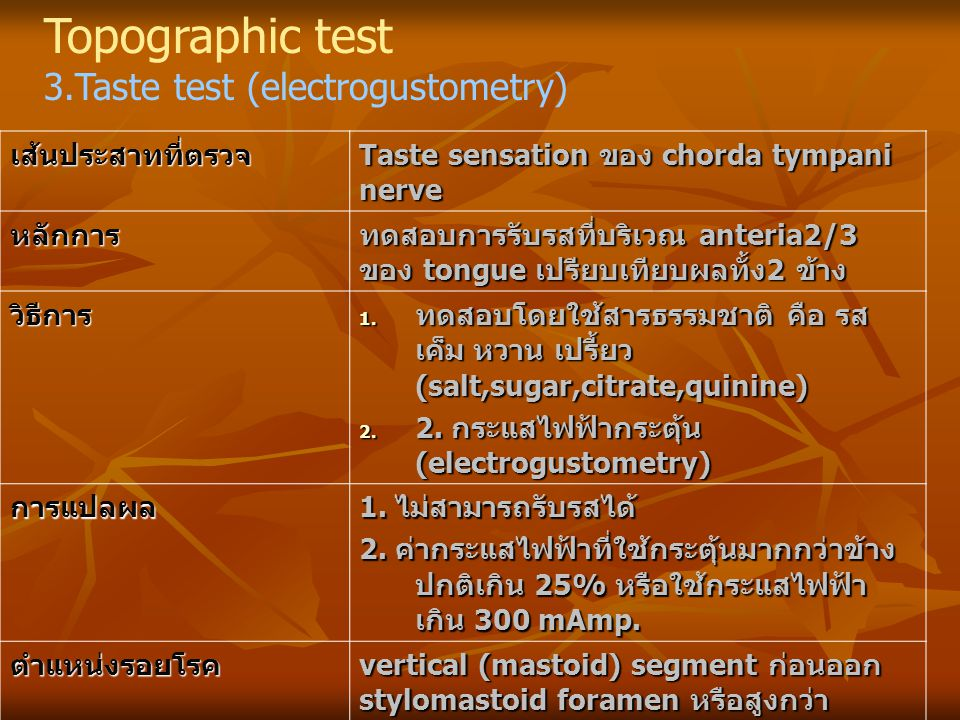 Topographic test 3.Taste test (electrogustometry) เส้นประสาทที่ตรวจ