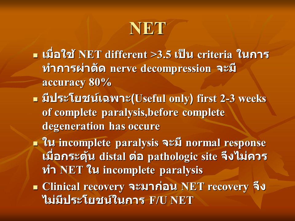 NET เมื่อใช้ NET different >3.5 เป็น criteria ในการทำการผ่าตัด nerve decompression จะมี accuracy 80%