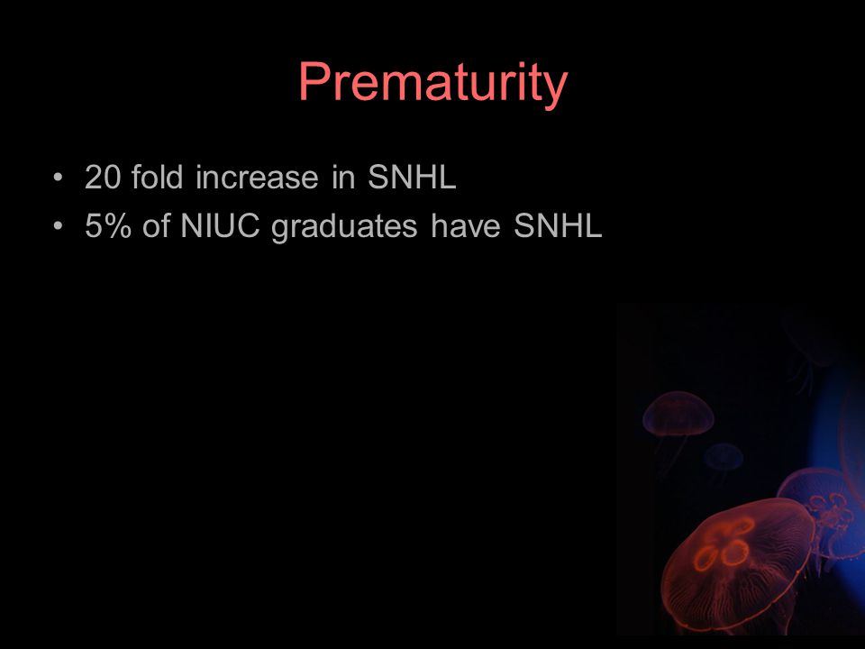 Prematurity 20 fold increase in SNHL 5% of NIUC graduates have SNHL