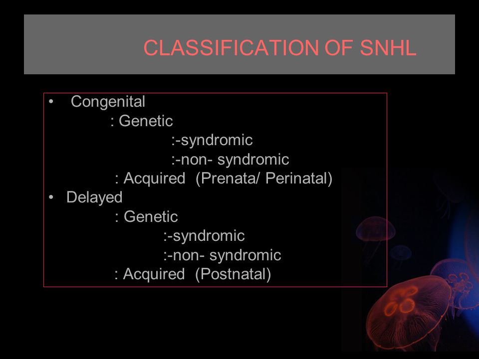CLASSIFICATION OF SNHL