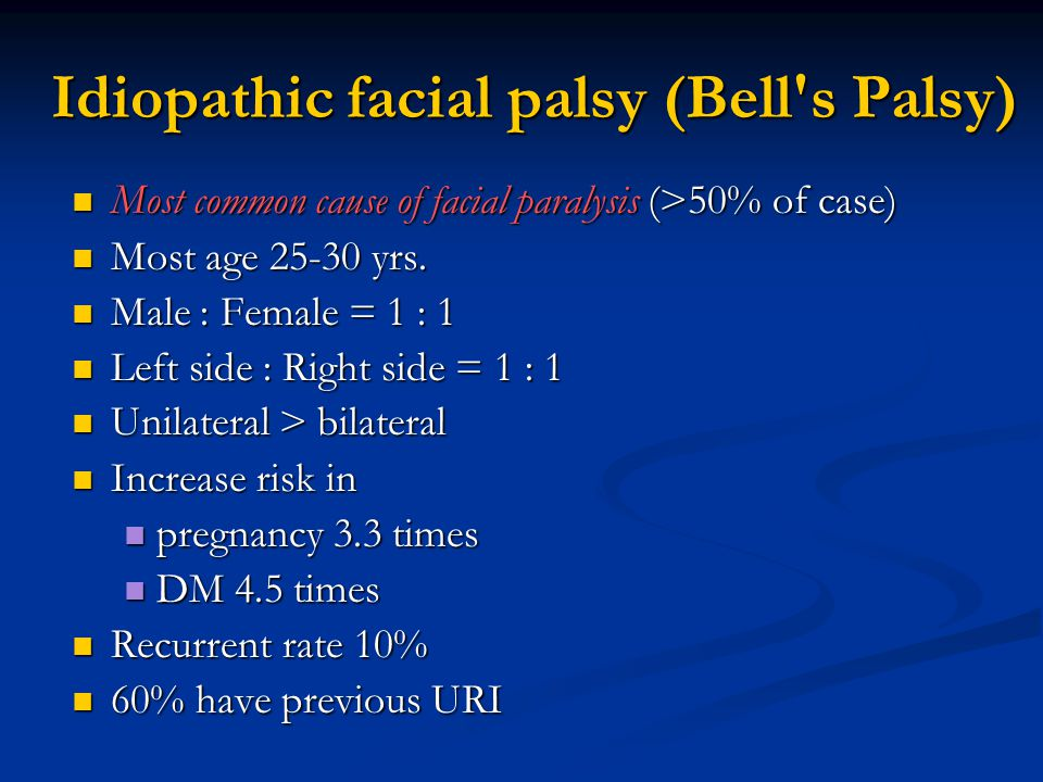 Idiopathic facial palsy (Bell s Palsy)