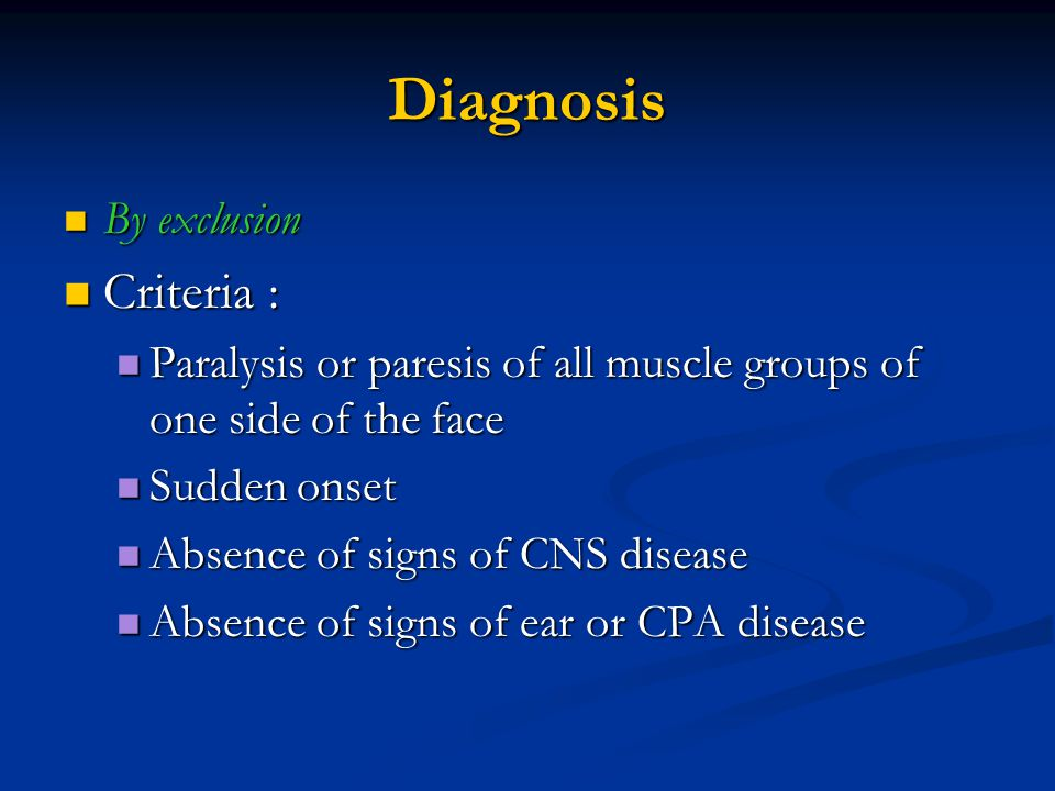 Diagnosis Criteria : By exclusion