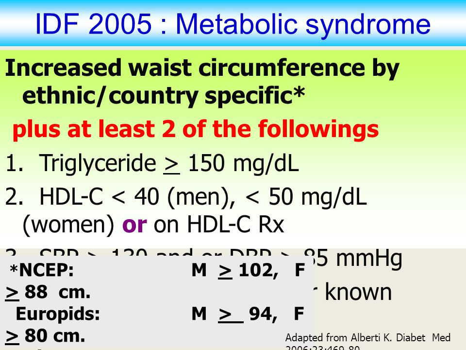 IDF 2005 : Metabolic syndrome
