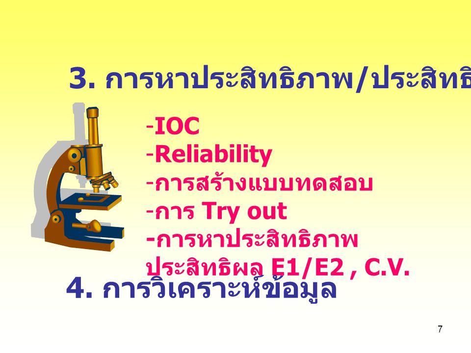 3. การหาประสิทธิภาพ/ประสิทธิผลของชุดฝึก