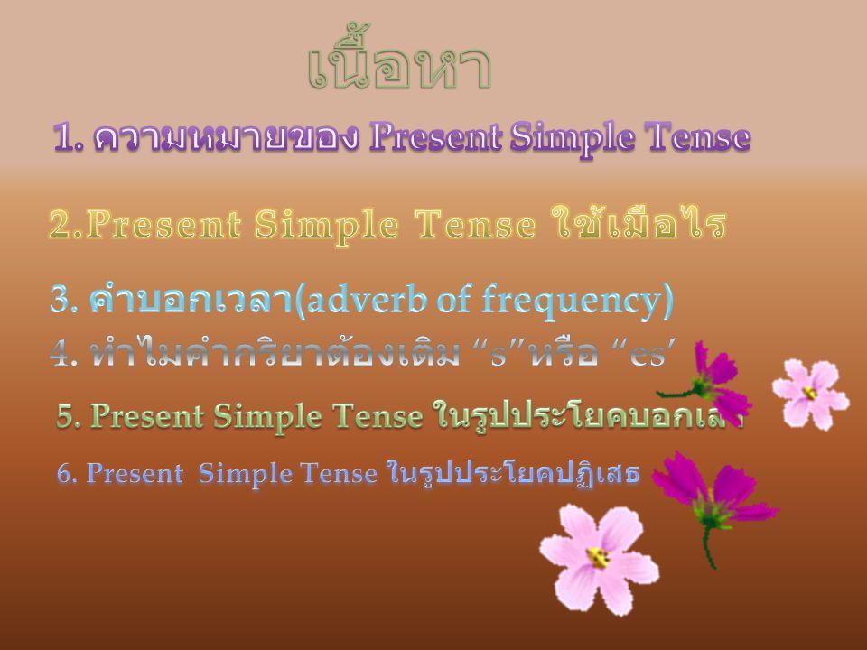 เนื้อหา 1. ความหมายของ Present Simple Tense