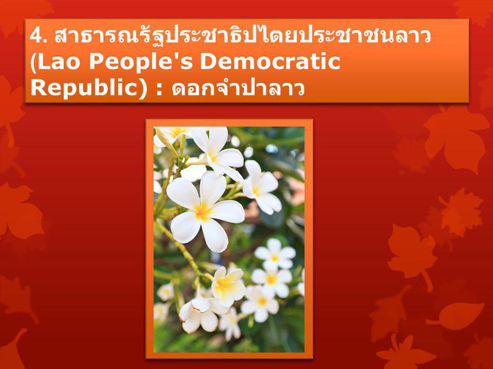 4. สาธารณรัฐประชาธิปไตยประชาชนลาว (Lao People s Democratic Republic) : ดอกจำปาลาว