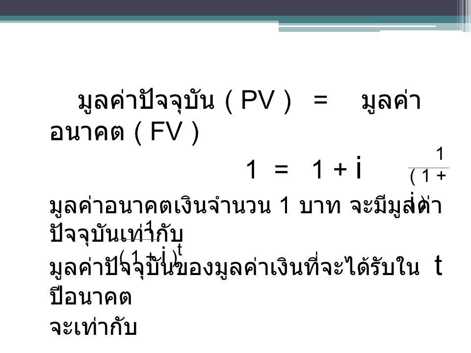 มูลค่าปัจจุบัน ( PV ) = มูลค่าอนาคต ( FV )