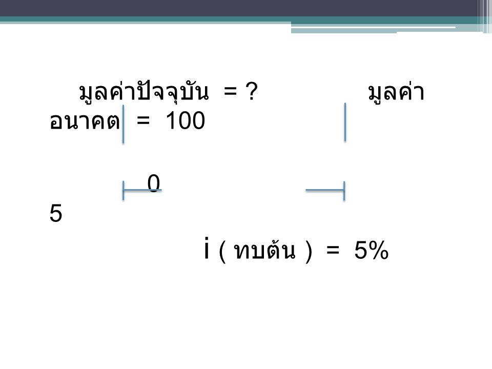 มูลค่าปัจจุบัน = มูลค่าอนาคต = 100 0 5 i ( ทบต้น ) = 5%