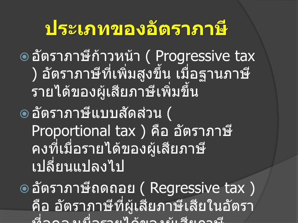 ประเภทของอัตราภาษี อัตราภาษีก้าวหน้า ( Progressive tax ) อัตราภาษีที่เพิ่มสูงขึ้น เมื่อฐานภาษีรายได้ของผู้เสียภาษีเพิ่มขึ้น.