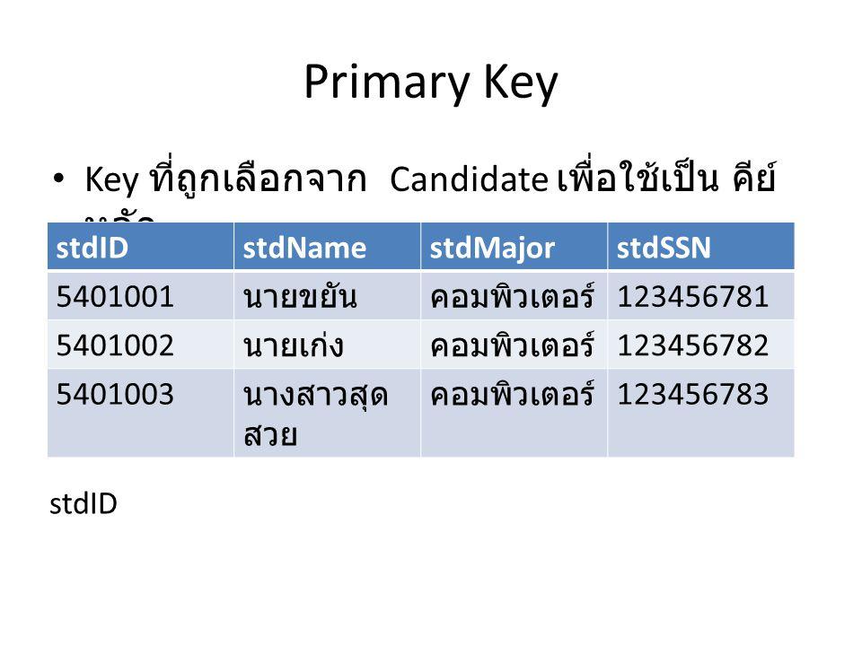 Primary Key Key ที่ถูกเลือกจาก Candidate เพื่อใช้เป็น คีย์หลัก stdID