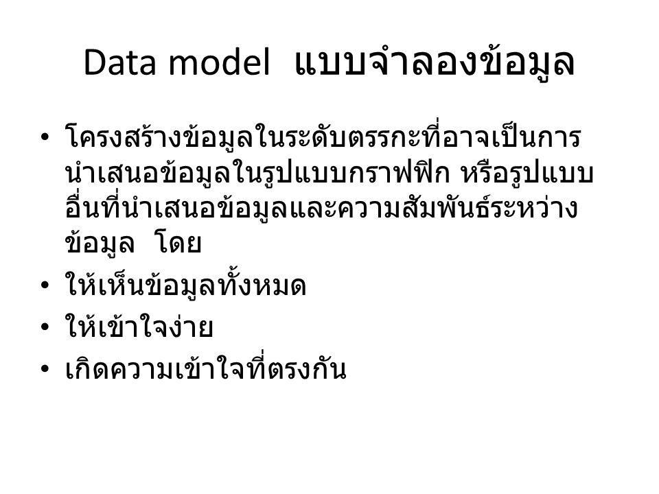 Data model แบบจำลองข้อมูล
