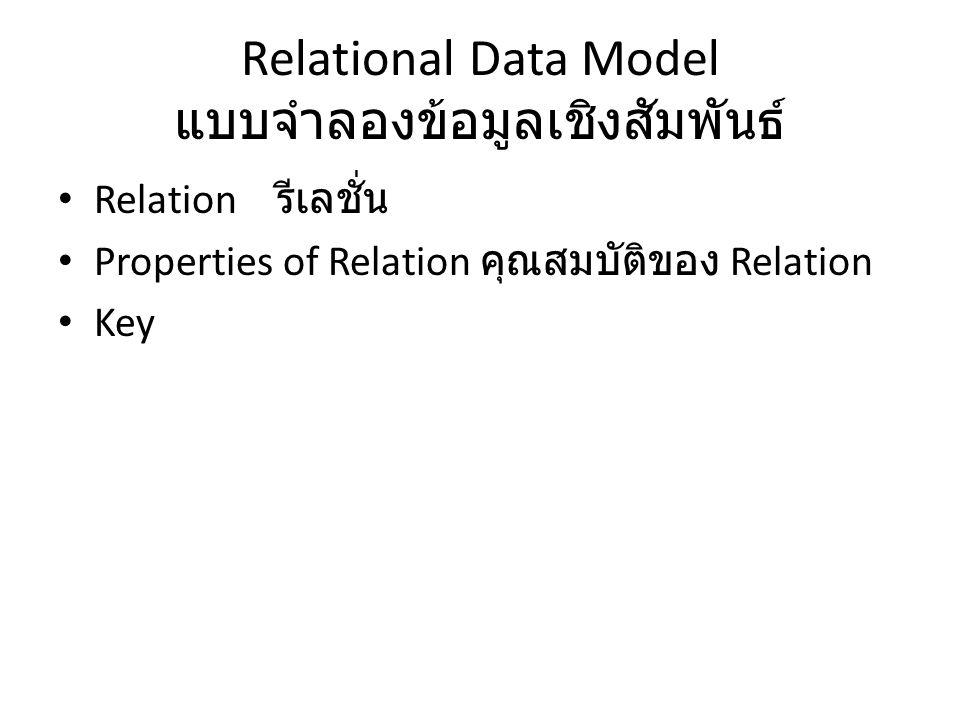 Relational Data Model แบบจำลองข้อมูลเชิงสัมพันธ์