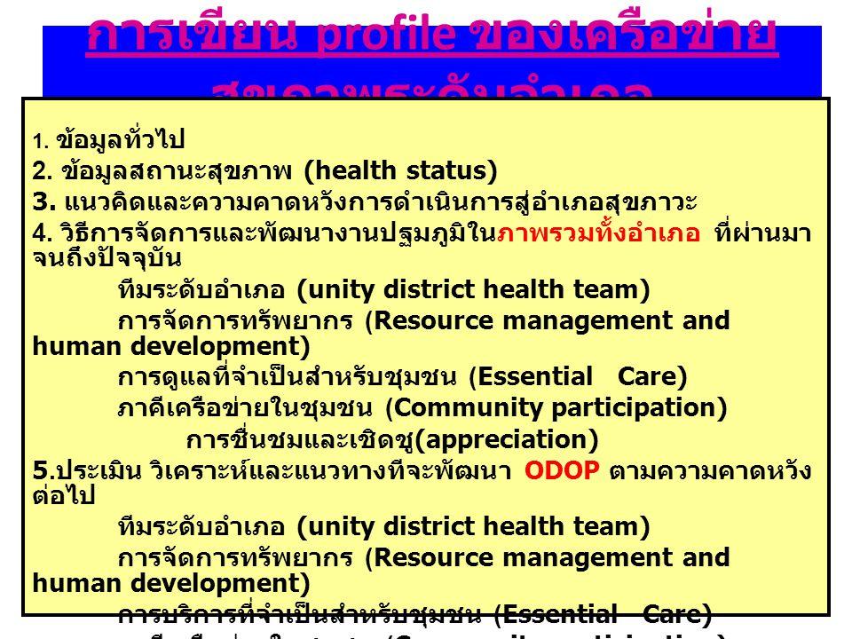 การเขียน profile ของเครือข่ายสุขภาพระดับอำเภอ