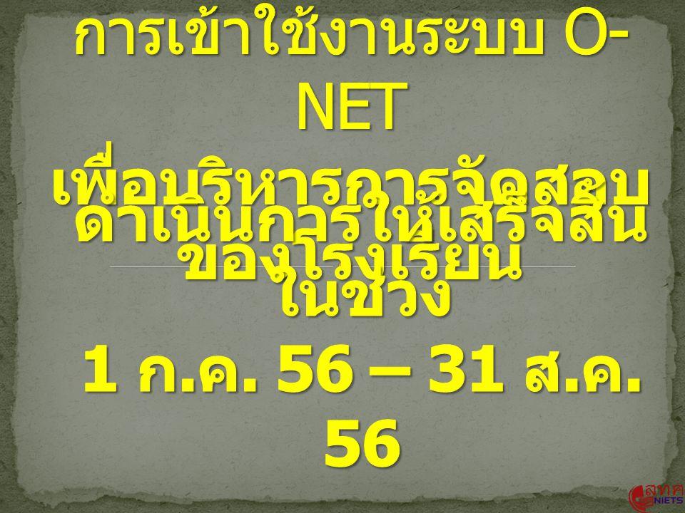 การเข้าใช้งานระบบ O-NET เพื่อบริหารการจัดสอบ ของโรงเรียน