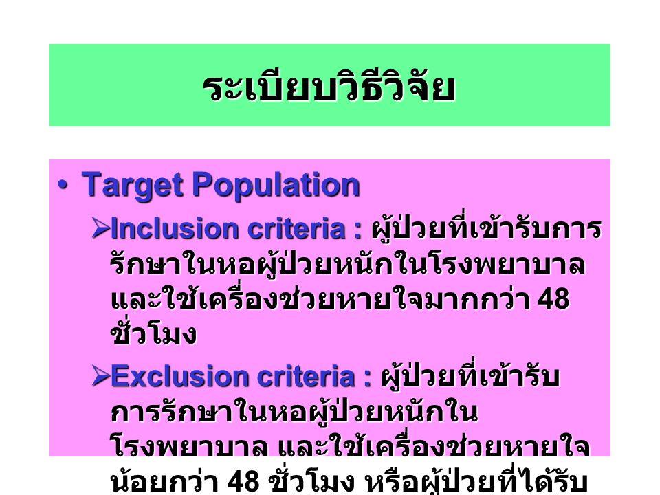 ระเบียบวิธีวิจัย Target Population