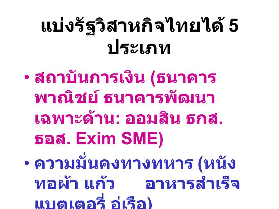 แบ่งรัฐวิสาหกิจไทยได้ 5 ประเภท