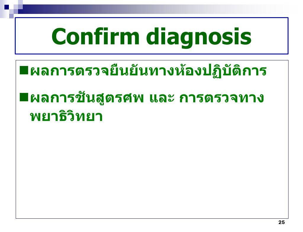 Confirm diagnosis ผลการตรวจยืนยันทางห้องปฏิบัติการ