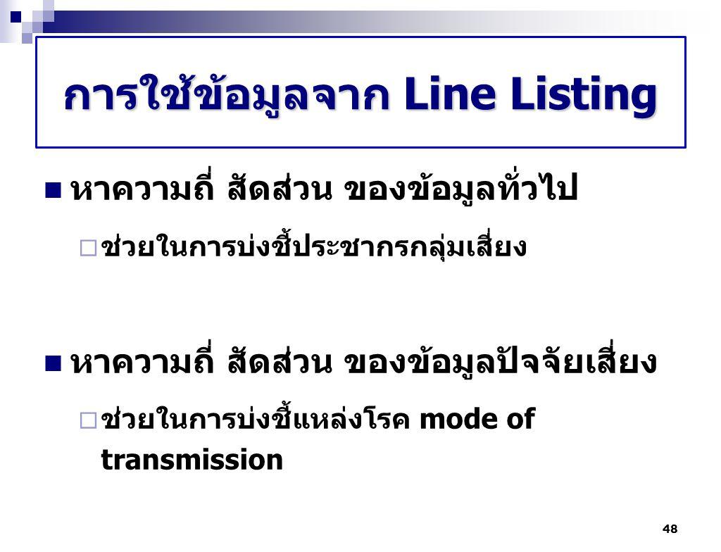 การใช้ข้อมูลจาก Line Listing