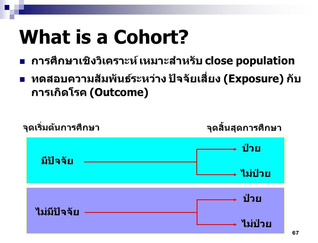What is a Cohort การศึกษาเชิงวิเคราะห์ เหมาะสำหรับ close population