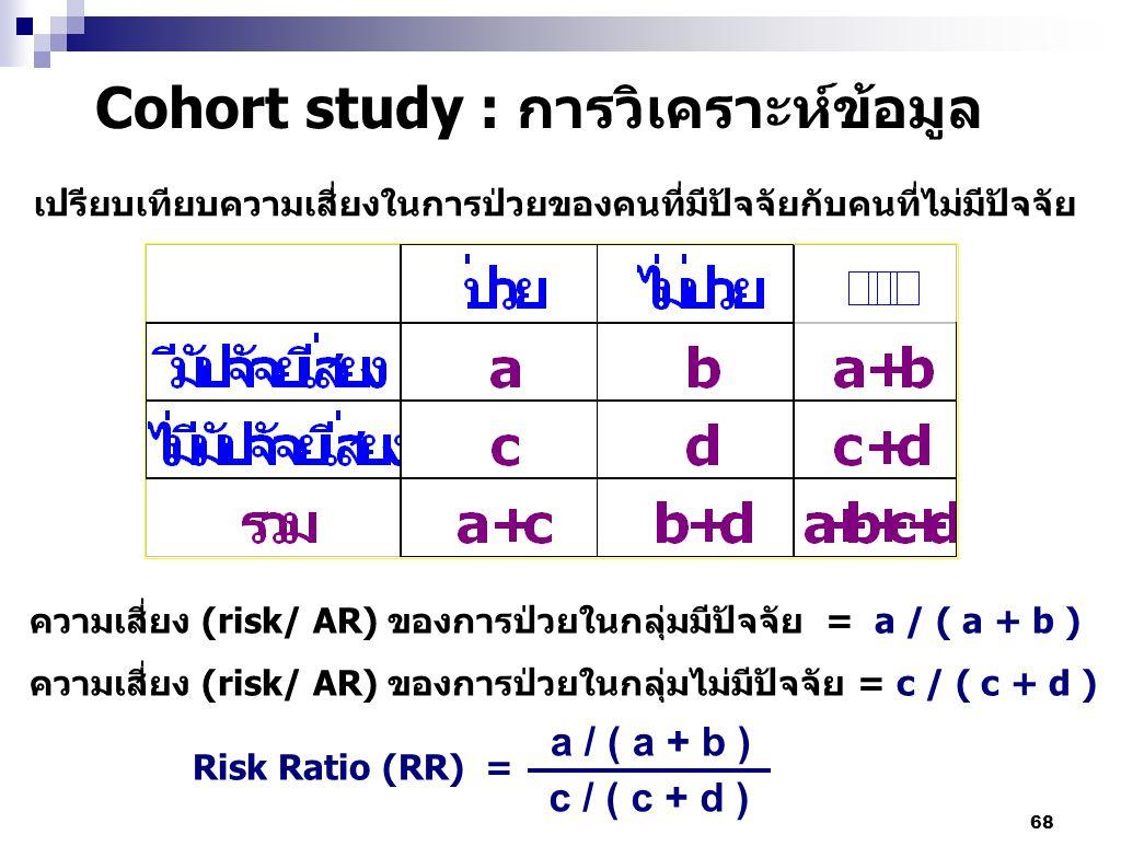 Cohort study : การวิเคราะห์ข้อมูล