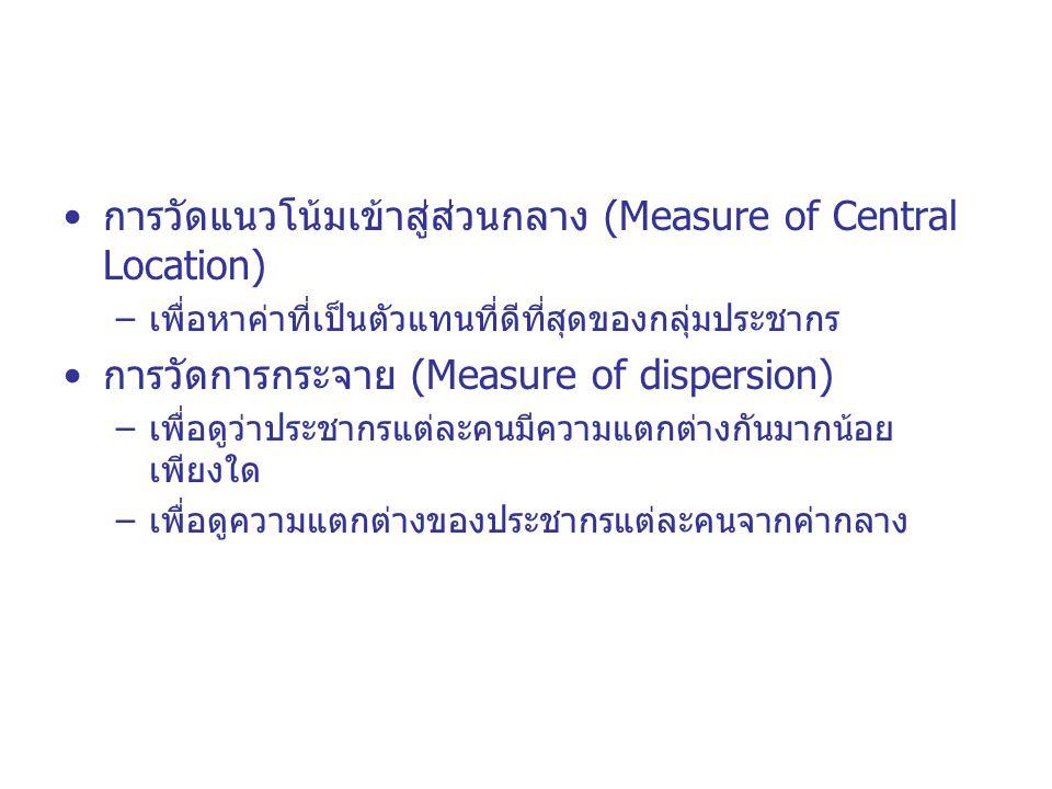 การวัดแนวโน้มเข้าสู่ส่วนกลาง (Measure of Central Location)