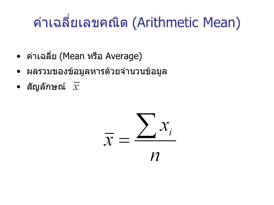 ค่าเฉลี่ยเลขคณิต (Arithmetic Mean)