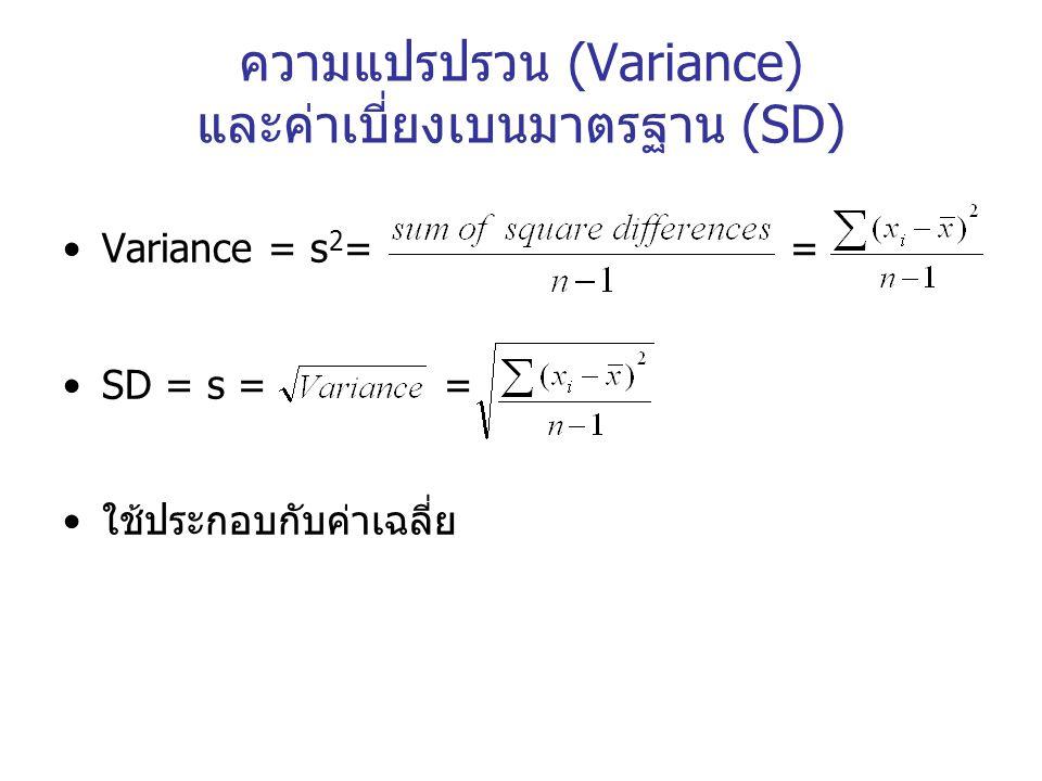 ความแปรปรวน (Variance) และค่าเบี่ยงเบนมาตรฐาน (SD)