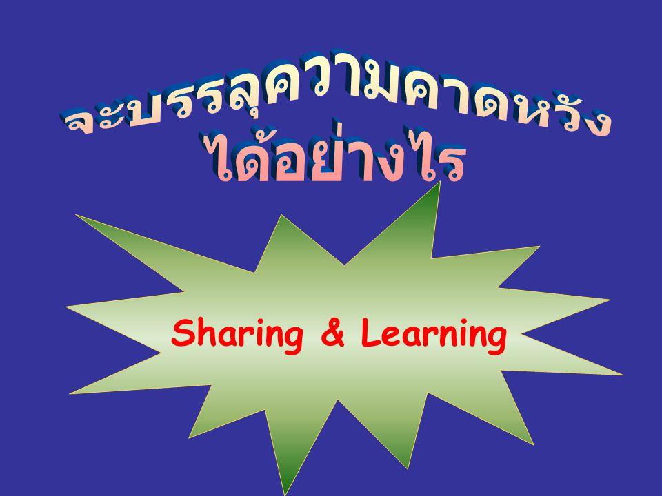 จะบรรลุความคาดหวัง ได้อย่างไร Sharing & Learning