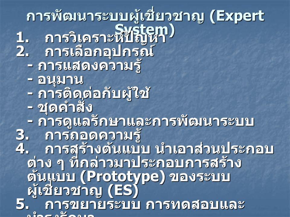 การพัฒนาระบบผู้เชี่ยวชาญ (Expert System)