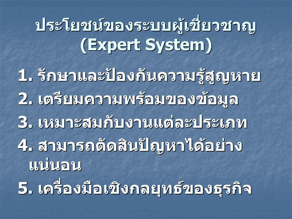 ประโยชน์ของระบบผู้เชี่ยวชาญ (Expert System)