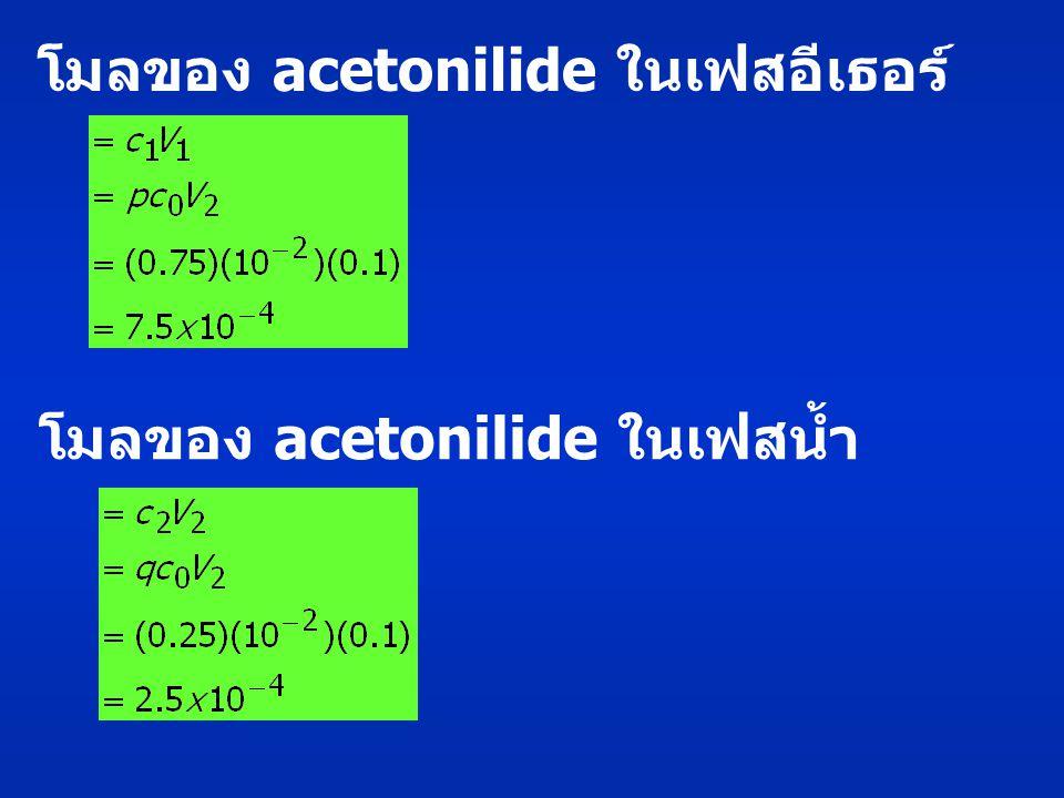 โมลของ acetonilide ในเฟสอีเธอร์