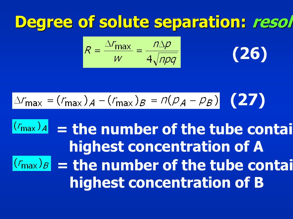 Degree of solute separation: resolution, R
