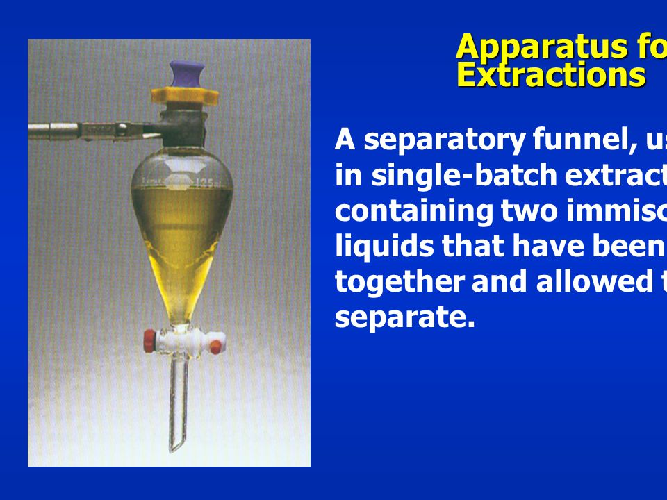 Apparatus for Extractions A separatory funnel, used