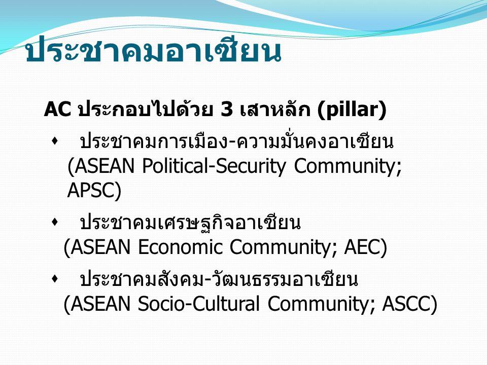 ประชาคมอาเซียน AC ประกอบไปด้วย 3 เสาหลัก (pillar)