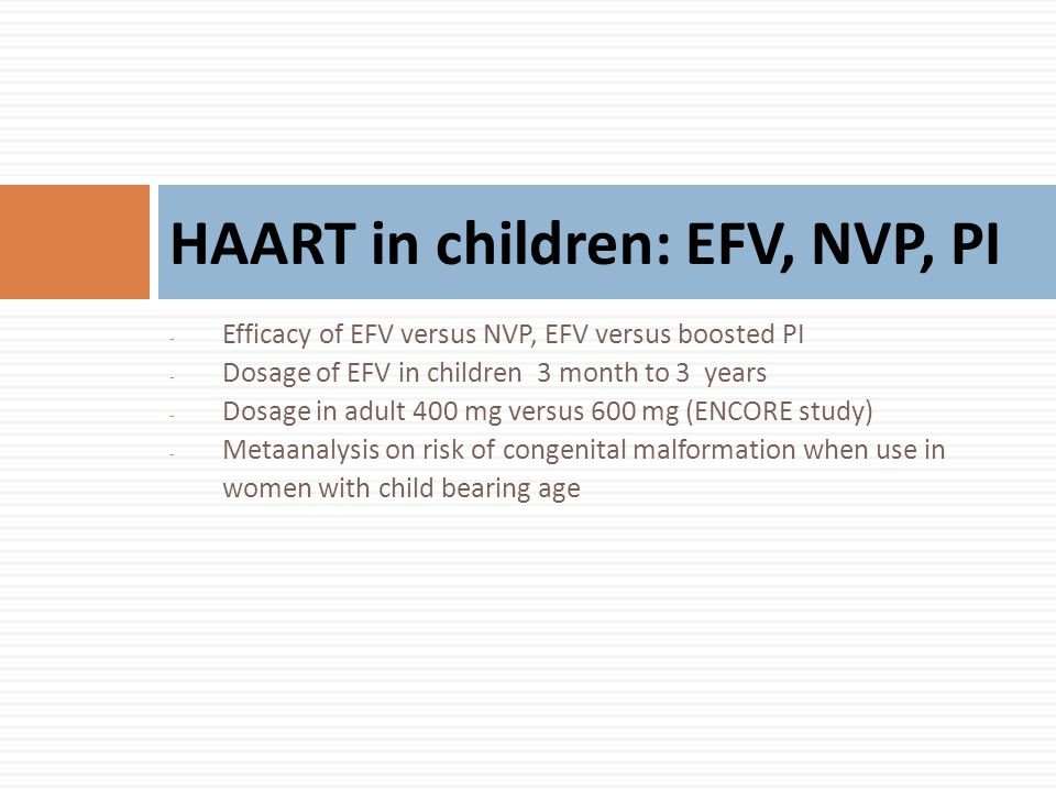 HAART in children: EFV, NVP, PI