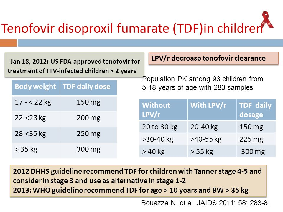 Tenofovir disoproxil fumarate (TDF)in children