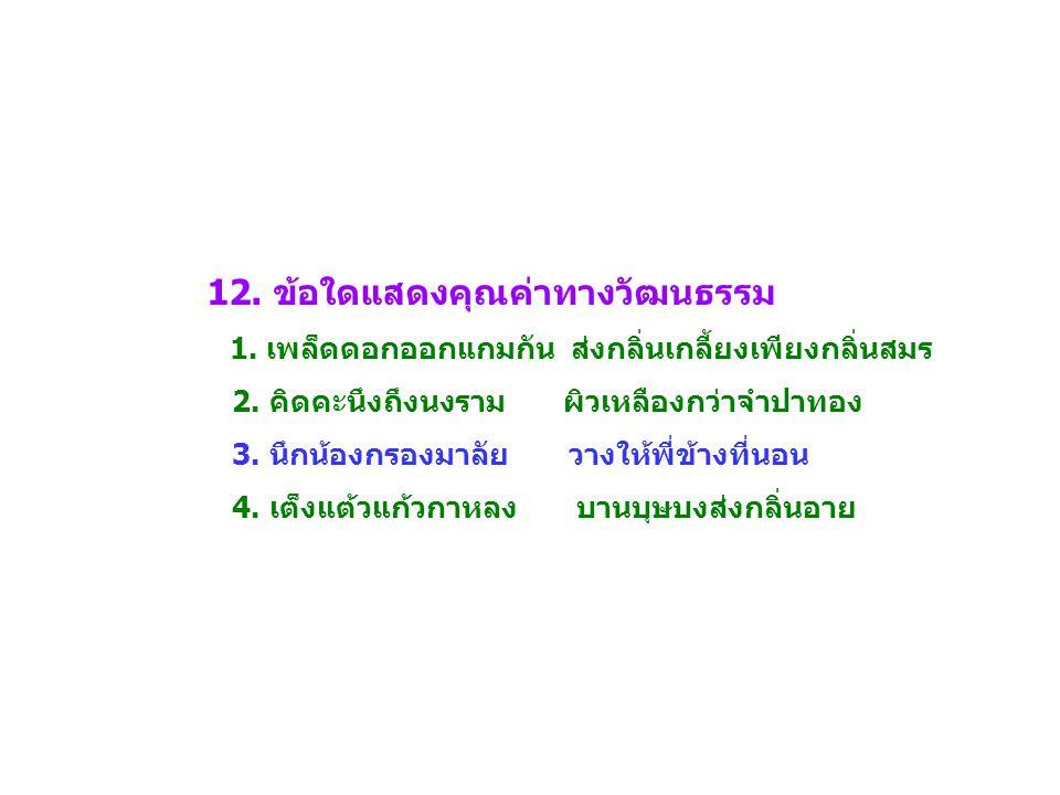 12. ข้อใดแสดงคุณค่าทางวัฒนธรรม